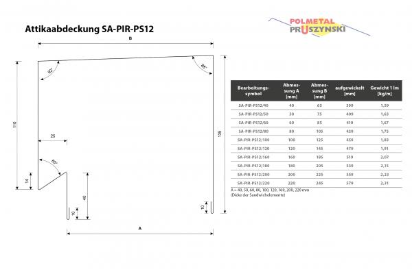 Attikaabdeckung SA-PIR-PS12
