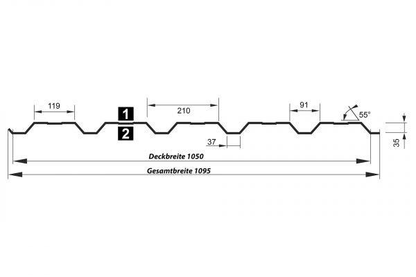 Trapezblech T35DR Wand